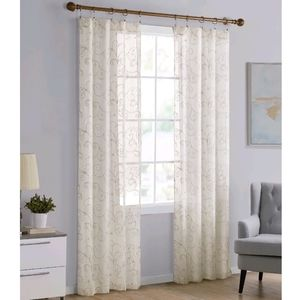 Set of 9 -Cream & Gold Embroidered Sheer Curtains